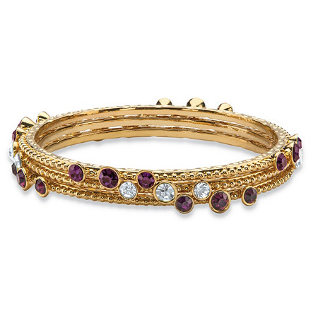 Simulated Purple Amethyst and White Crystal Three-Piece Hammered-Style Gold Tone Bangle Bracelet Set at PalmBeach Jewelry