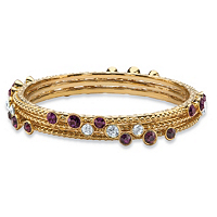 Simulated Purple Amethyst And White Crystal Three-Piece Hammered-Style Gold Tone Bangle Bracelet Set ONLY $7.99