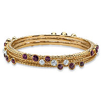 Simulated Purple Amethyst and White Crystal Three-Piece Hammered-Style Gold Tone Bangle Bracelet Set