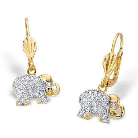 Diamond Accent Two-Tone Lever Back Elephant Drop Earrings 18k Gold-Plated at PalmBeach Jewelry