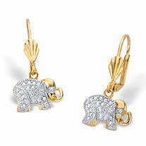 Diamond Accent Two-Tone Lever Back Elephant Drop Earrings 18k Gold-Plated
