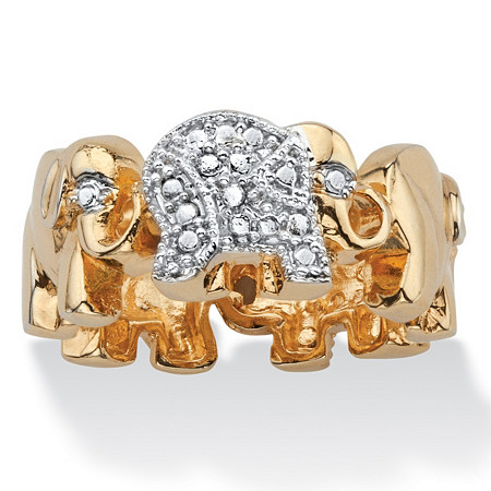 Diamond Accent Two-Tone Pave-Style Elephant Parade Ring 18k Gold-Plated at PalmBeach Jewelry