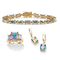 27.60 TCW Emerald-Cut Aurora Borealis Cubic Zirconia Three-Piece Set 14k Gold-Plated