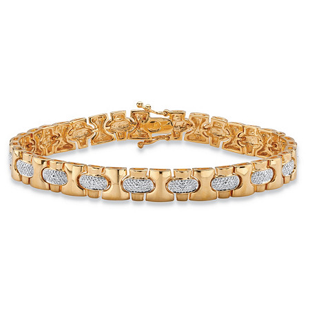Men's Diamond Accent Pave-Style Link Bracelet 18k Yellow Gold-Plated 8.5