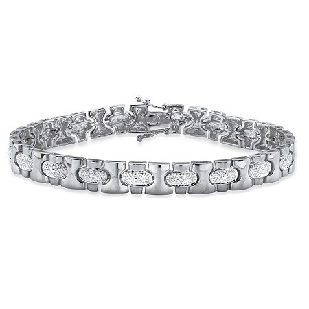 Men's Diamond Accent Pave-Style Bar-Link Bracelet in Silvertone 8.5