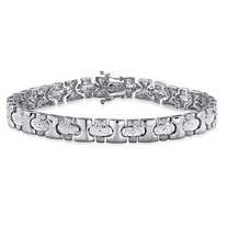 Men's Diamond Accent Pave-Style Bar-Link Bracelet in Silvertone 8.5""