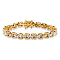 1/10 TCW Pave Diamond Link Bracelet 18k Gold-Plated 7""