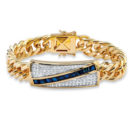 5.70 TCW Genuine Midnight Blue Sapphire and CZ Diagonal Curb-Link Bracelet 14k Gold-Plated 8