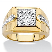 Men's Diamond Accent Two-Tone Square Cluster Ring 18k Yellow Gold-Plated