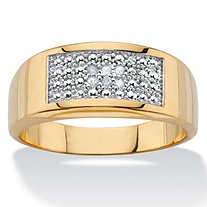 Diamond Accent Geometric Pave Ring 18k Gold-Plated