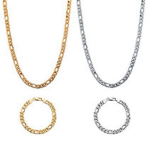"Men's Figaro-Link Four-Piece Chain Necklace and Bracelet Set Gold Ion-Plated and Silvertone 22"" 8"" (6.5mm)"
