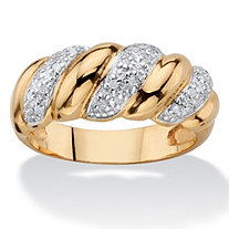1/10 TCW Diamond Two-Tone Ribbon Twist Ring 14k Gold-Plated