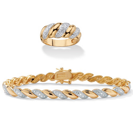 1/5 TCW Diamond Two-Piece Bracelet and Ring Set 14k and 18k Gold-Plated 7.25