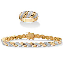 1/5 TCW Diamond Two-Piece Bracelet and Ring Set 14k and 18k Gold-Plated 7.25""