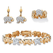 Diamond Accent Two-Tone Elephant Parade Three-Piece Bracelet, Earrings and Ring Set 18k Gold-Plated