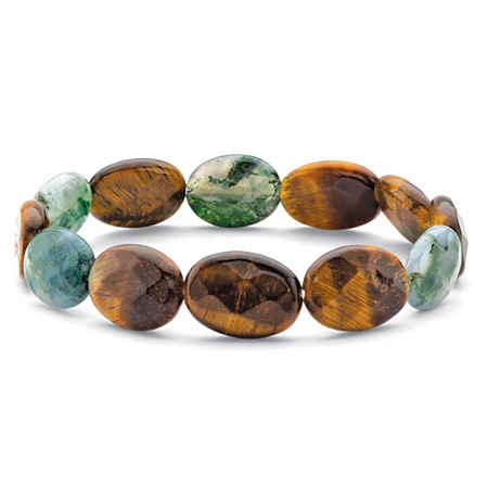 "Genuine Brown Tiger's Eye and Green Jasper Stretch Bracelet 8"" at PalmBeach Jewelry"