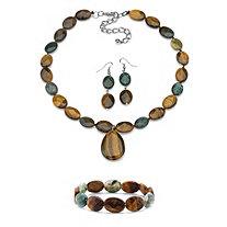 "Genuine Brown Tiger's Eye and Green Jasper Necklace, Earrings and Bracelet Set Silvertone 18"""