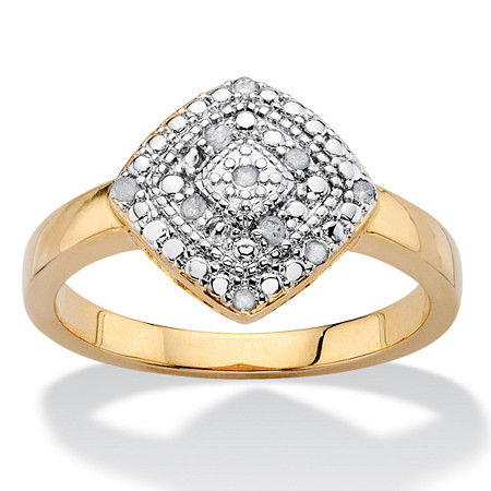 1/10 TCW Round White Diamond Pave-Style Concentric Cluster Ring 14k Gold-Plated at PalmBeach Jewelry
