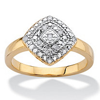 1/10 TCW Round White Diamond Pave-Style Concentric Squared Ring 14k Gold-Plated