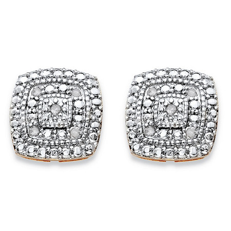 1/10 TCW Diamond Pave-Style Two-Tone Concentric Squared Stud Earrings Gold-Plated at PalmBeach Jewelry