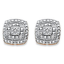 SETA JEWELRY 1/10 TCW Diamond Pave-Style Two-Tone Concentric Squared Stud Earrings 14k Gold-Plated