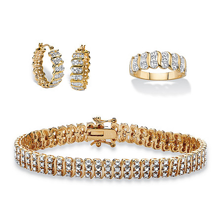 "Diamond Accent S-Link 3-Piece Bracelet, Earrings and Ring Set 18k Gold-Plated 8"" at PalmBeach Jewelry"