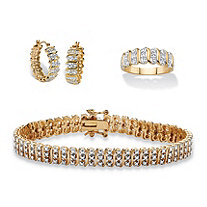 Diamond Accent S-Link 3-Piece Bracelet, Earrings and Ring Set 18k Gold-Plated 8""