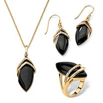SETA JEWELRY .47 TCW Genuine Black Onyx and Cubic Zirconia Marquise-Shaped Three-Piece Set 18k Gold-Plated 18