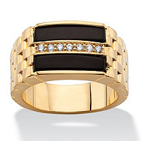 SETA JEWELRY Men's .14 TCW Genuine Black Onyx and CZ Buff Top Ring 14k Gold-Plated