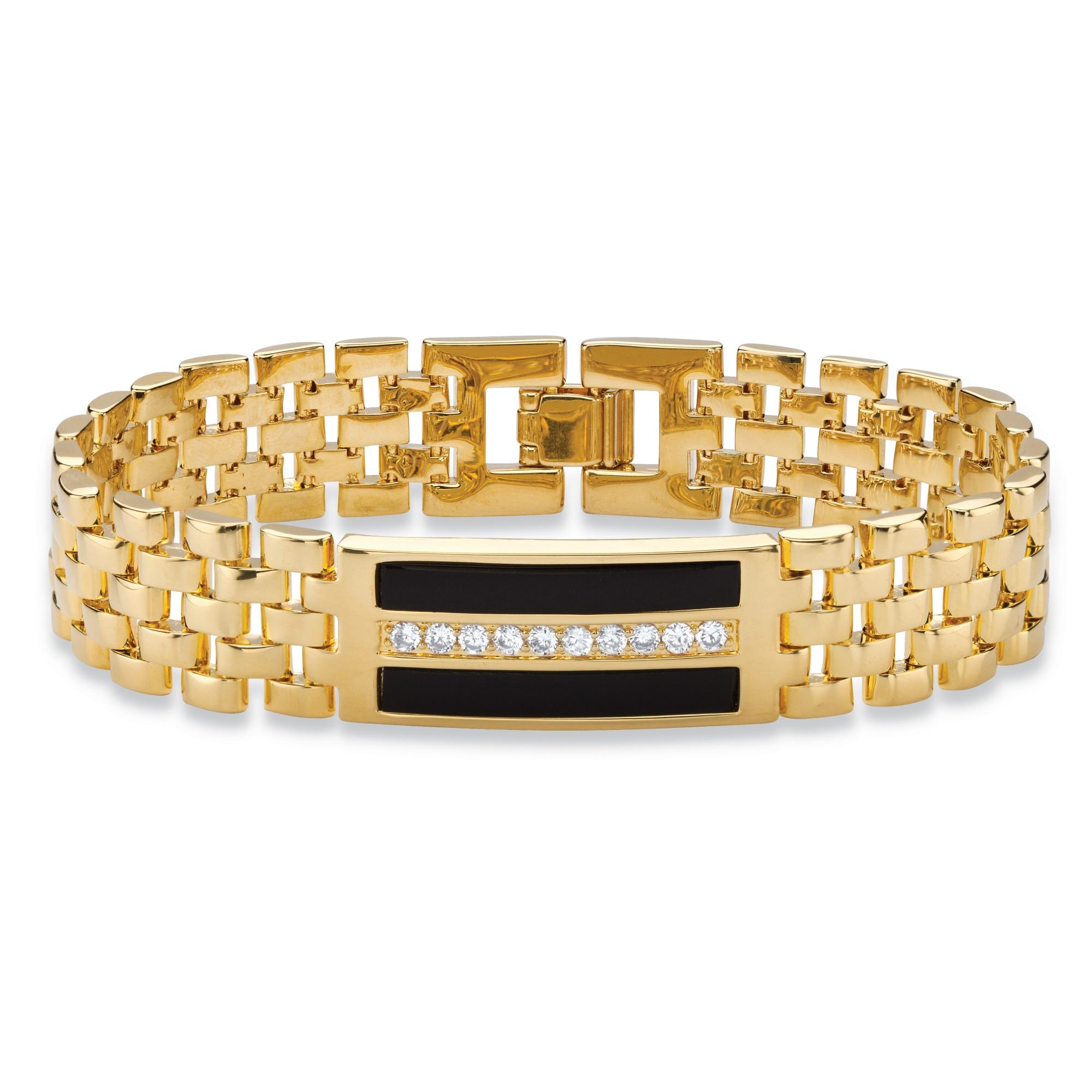Gold Band Bracelet: Men's .60 TCW Genuine Black Onyx And CZ Watch Band