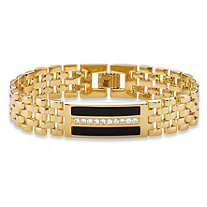 Men's .60 TCW Genuine Black Onyx and CZ Watch Band Bracelet 14k Gold-Plated 8.75