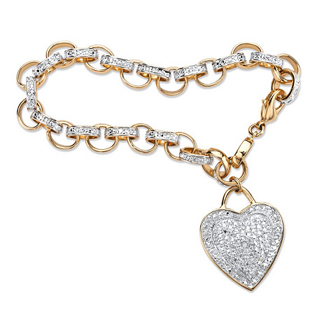 "Diamond Accent Heart Charm Rolo-Link Bracelet 18k Yellow Gold-Plated 7 3/4"" at PalmBeach Jewelry"