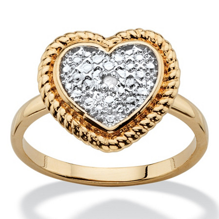 Diamond Accent Two-Tone Heart Ring 18k Gold-Plated at PalmBeach Jewelry