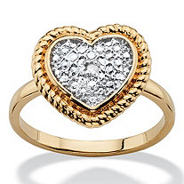Diamond Accent Two-Tone Heart Ring 18k Gold-Plated