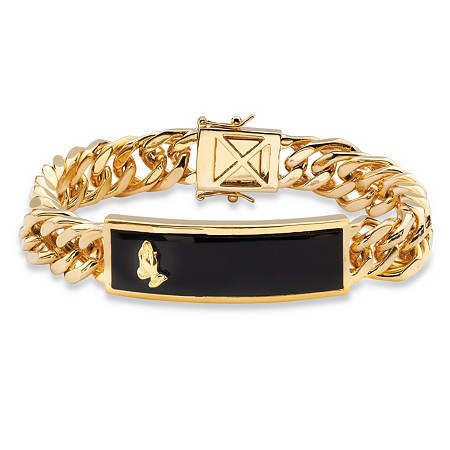 "Men's Genuine Black Onyx Praying Hands Curb-Link Bracelet 14k Gold-Plated 8"" at PalmBeach Jewelry"