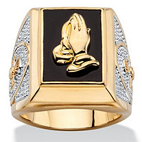 Men's Emerald-Cut Genuine Black Onyx Praying Hands Two-Tone Ring 14k Gold-Plated