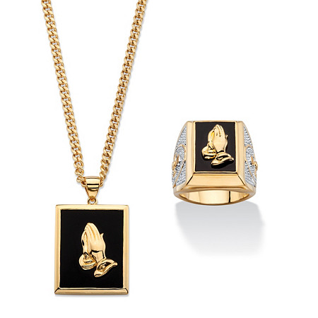"""Men's Genuine Black Onyx Praying Hands Two-Piece Ring and Necklace Set Gold-Plated 22"""" at PalmBeach Jewelry"""