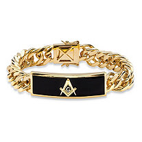 Men's Genuine Black Onyx Masonic Insignia Curb-Link Bracelet 14k Gold-Plated 8""