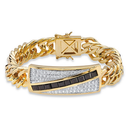 "Men's 1.70 TCW Genuine Black Onyx and Cubic Zirconia Channel-Set Bracelet 14k Gold-Plated 8"" at PalmBeach Jewelry"