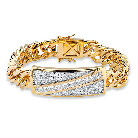"Men's 5.28 TCW Square-Cut and Pave Cubic Zirconia 14k Gold-Plated Diagonal Curb-Link Bracelet 8"" at PalmBeach Jewelry"