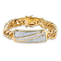 Men's 5.28 TCW Square-Cut and Pave Cubic Zirconia 14k Gold-Plated Diagonal Curb-Link Bracelet 8