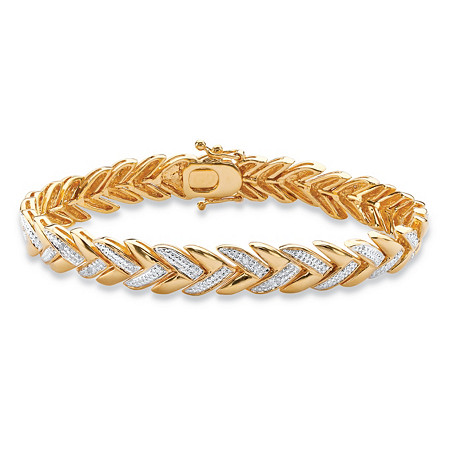 "Diamond Accent Pave-Style Laurel Leaf Bracelet 18k Gold-Plated 7.5"" at PalmBeach Jewelry"