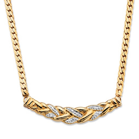 Diamond Accent Pave-Style Laurel Leaf Chevron Necklace 18k Gold-Plated 16