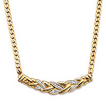 Diamond Accent Pave-Style Laurel Leaf Chevron Necklace 18k Gold-Plated 16""
