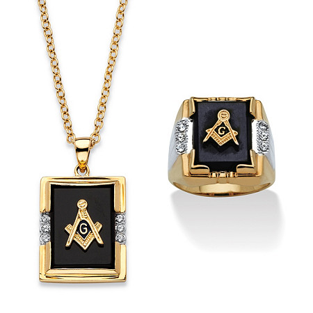 Men's Genuine Black Onyx and Crystal Two-Tone Masonic Ring and Necklace Set 14k Gold-Plated 20