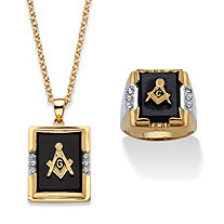 Men's Genuine Black Onyx and Crystal Two-Tone Masonic Ring and Necklace Set 14k Gold-Plated 20""