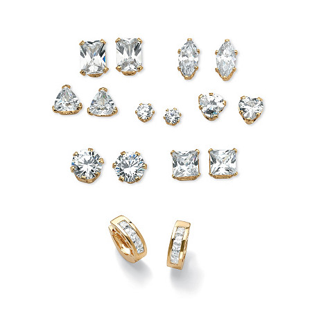 """11 TCW Cubic Zirconia 8-Piece Set of Stud and Huggie-Hoop Earrings Gold-Plated Sterling Silver (3/4"""") at PalmBeach Jewelry"""