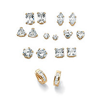 """11 TCW Cubic Zirconia 8-Piece Set of Stud and Huggie-Hoop Earrings Gold-Plated Sterling Silver (3/4"""")"""