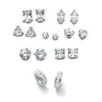 SETA JEWELRY 11.12 TCW Cubic Zirconia 8-Pair Set of Stud and Huggie-Hoop Earrings in Platinum over Silver (3/4