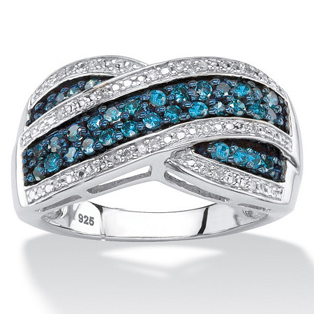 1/2 TCW Blue and White Diamond Multi-Row Crossover Cocktail Ring in Platinum over Sterling Silver at PalmBeach Jewelry